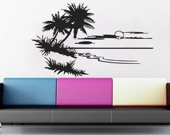 Wall Decals Nature Palms Sunset Horizon Decal Vinyl Sticker Decal Art Home Decor Art Mural Bedroom Nursery MS354
