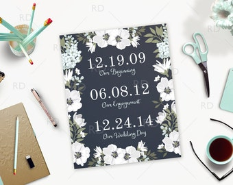 Important Date Art - PRINTABLE / Floral Date Art / Wedding Art / Engagement Art / Children's Birth Dates / Wall Art / Wall Decor