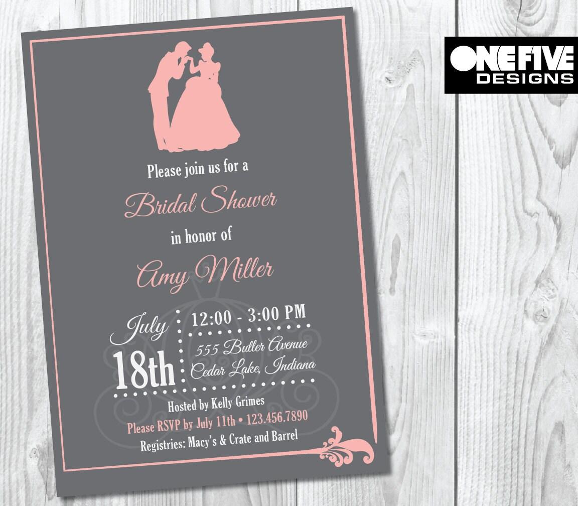 Princess theme bridal shower invitation pink printable for Themed bridal shower invitations