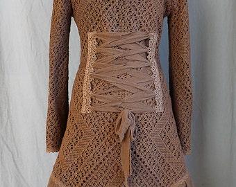 Sale!!CROCHET LACE JACKET cardigan fleece crochet gypsy Steampunk Pixie Tribal