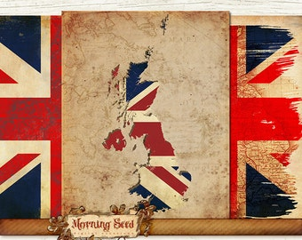 Union Jack Digital sheet 3 designs, 8 x 11.5 inch, Rustic United Kingdom background, Digital Scrapbooking