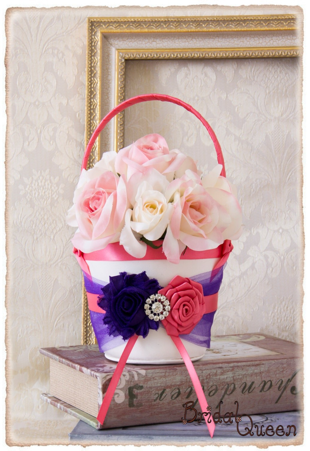 READY TP SHIP Purple and Pink Coral Flower Girl Basket, Flower Girl ...