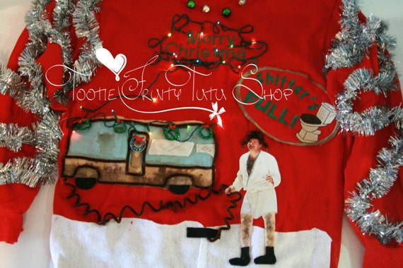 Ugly Christmas Sweater cousin Eddie Shitter Was Full National