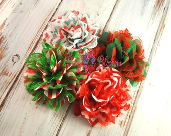 christmas flower 4pc 4 inch flowers lace mesh chiffon 1 of each or