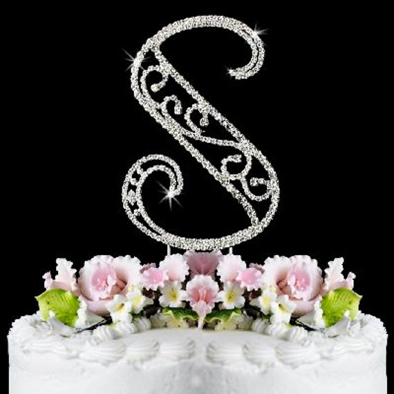 Images Of Cake With Letter S : Beautiful Crystal Rhinestone Silver Letter S