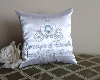 silver cinderella princess carriage satin ring bearer pillowkeepsake pillow wedding engagement - Cinderella Wedding Ring