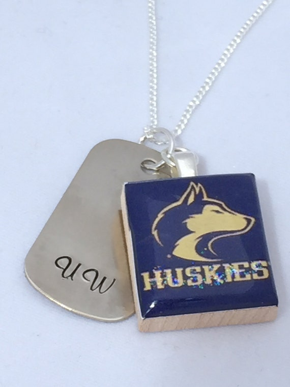 husky pendant dawg tag necklace uw sted necklace