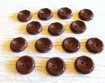 Set of 14 Brown Fancy Plastic Vintage Buttons from the 1950s ~ 19mm