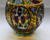 Reserved for Jody****Round Tealight Candle Holder- Handpainted Glass, Sugar Skulls Design