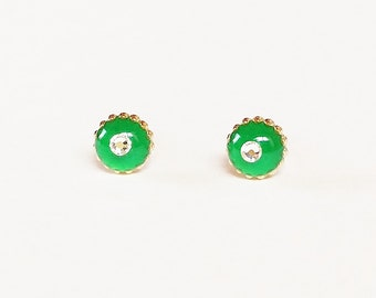 Green earrings, Sparkly green small earrings, Green minimalist earrings, Rhinestone earrings, Hyporallergenic, 6mm, Resin Jewelry, For her