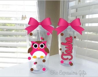 Owl tumbler - done in your choice of colors - up to 3