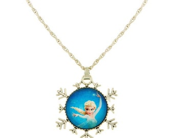 Clearance ~ Frozen Snowflake Sweater Length Pendant w/Princess Elsa!  Perfect for Birthday Favors!