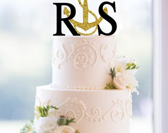 Monogram Wedding Cake Topper – Custom 2 Initials with Anchor Topper- (T076)