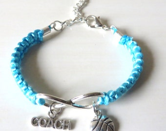 Basketball Coach Athletic Charm Infinity Bracelet Coach Charm You Choose Your Cord Color(s)