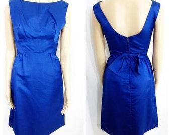 Vintage Aubrey Hepburn Dress Cobalt Blue Bowtie Bow