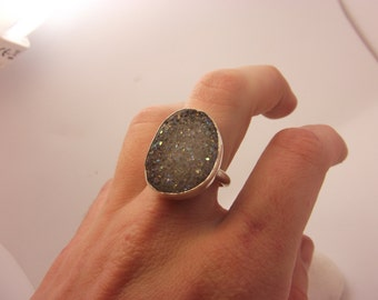Druzy Ring Chalcedony Titanium Plated Sterling Silver Rough Agate Crystals Birthstone Semi Precious Jewel
