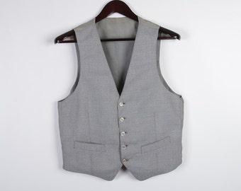 Light Gray  Mens Vest  Classic Fitted Waistcoat Steampunk Gentlemen's Edwardian Victorian Medium Size