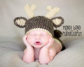 Baby Deer Hat Crochet Deer hat Baby Animal outfit Outdoor Baby Hat Hunter Baby Prop