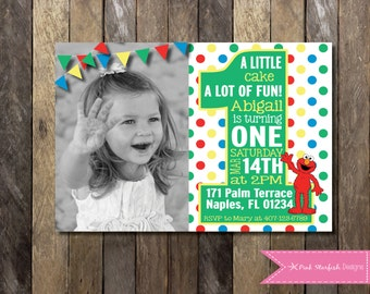 Sesame Street Invitation, Elmo Invitation, Invitation with Picture, Elmo, Sesame Street, First Birthday, 1st Birthday, Printable Invitation