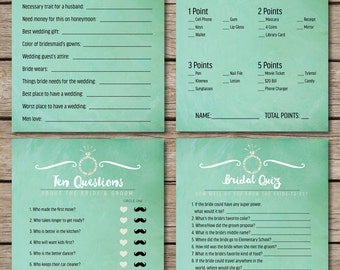 Mint Watercolor Bridal Shower & Wedding Game Suite (4 Games)