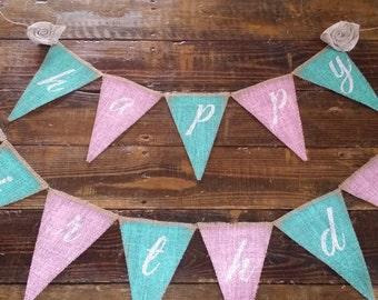Hand Painted Happy Birthday Burlap Banner, Party Banner, Shabby Chic Birthday Banner,Garden Tea Party Decor, Birthday Photo Prop