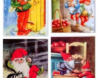 4 Vintage Scandinavian Christmas Mini-Postcards; Santa's Elves, Kitten. #003