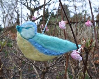 Handmade Blue Tit Garden Bird Hanging Ornament Decoration Made Using Wet Felting Technique, Applique & Hand Embroidery - Blue, Yellow, Green