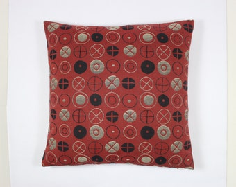 """Circles by Charles and Ray Eames, 1947.  Red accents. Mid century - from Maharam.  17""""x17"""" pillow with feather insert. Decorative pillow"""