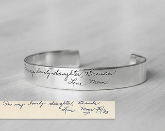Actual Handwriting Cuff Bracelet For Her - Personalized Signature Bracelet - Silver, Gold, Rose ...