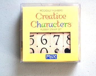 "NOS Creative Characters Rubber Stamp Set Designs for Creativity Piccadilly Numbers Stamp Set Mounted Wooden Rubber Stamps .75"" 0-9 Small New"