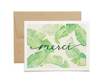 Merci // Watercolor A2 Flat Card