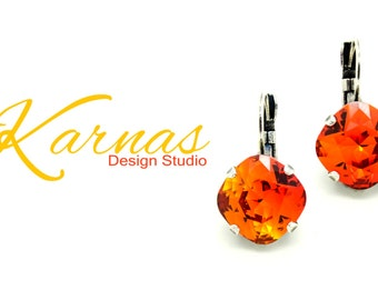 FIRE OPAL 12MM Cushion Cut Crystal Earrings Made With Swarovski Elements *Pick Your Finish *Karnas Design Studio *Free Shipping*