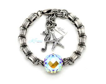 HEAT WAVE 16mm Single Stone Classical Crystal Bracelet Made With Swarovski Elements *Antique Silver *Karnas Design Studio *Free Shipping*