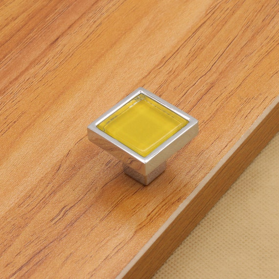 Colorful glass knobs square dresser drawer knobs pulls for Square kitchen cabinet knobs
