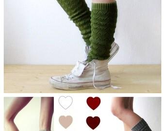 Leg warmers in Green / Boot cuff / Urban clothing / Knit leg warmers / lace legwear / yoga lover / CHOOSE Y