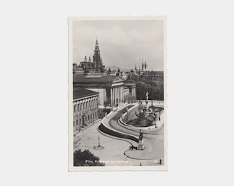 1940s Real Photographic Postcard of Vienna Parliament Building and Town Hall, Austria - Wien Rathaus Parlament city photograph picture