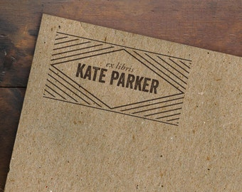 Ex Libris Rubber Stamp • Custom Bookplate Stamp • Personalized Book Stamp • Geometric Name Label • Hipster Library Stamp • Bookworm Gift
