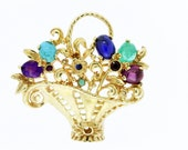 14K Yellow Gold Flower Basket Brooch with Gemstones
