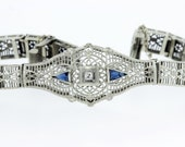 10K Gold Bracelet with Diamond and Sapphires