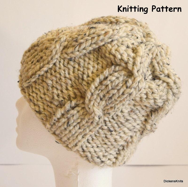 Chunky Knit Beanie Hat Pattern : PDF KNITTING PATTERN Soft Wool Chunky Knit Hat Knit Cable