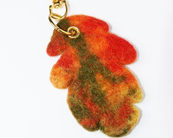 Wool Needle Felted Keychain Bag Charm with Colorful Orange Green Leaf  Key Ring Christmas Valentines Mother's Day  Present Gift