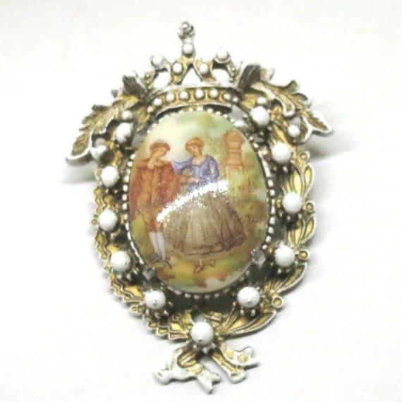 Boucher Black Flower Rose Pin Brooch Signed Numbered: Enamel Brooch Vintage Florenza Signed Gold Tone By MyDellaWear