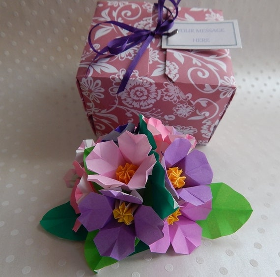 Origami Petunia Paper Flower Arrangement. By KatamiKeepsakes