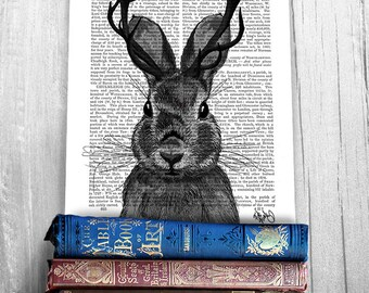 Jackalope Print with grey Antlers - rabbit print Whimsical art Whimsical print Whimsical Animal art unusual gift Woodland Nursery décor