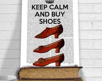 Keep Calm Buy Shoes - gift for woman shoe lover gift funny print cute gift for friend gift for mom mother anniversary gift for wife