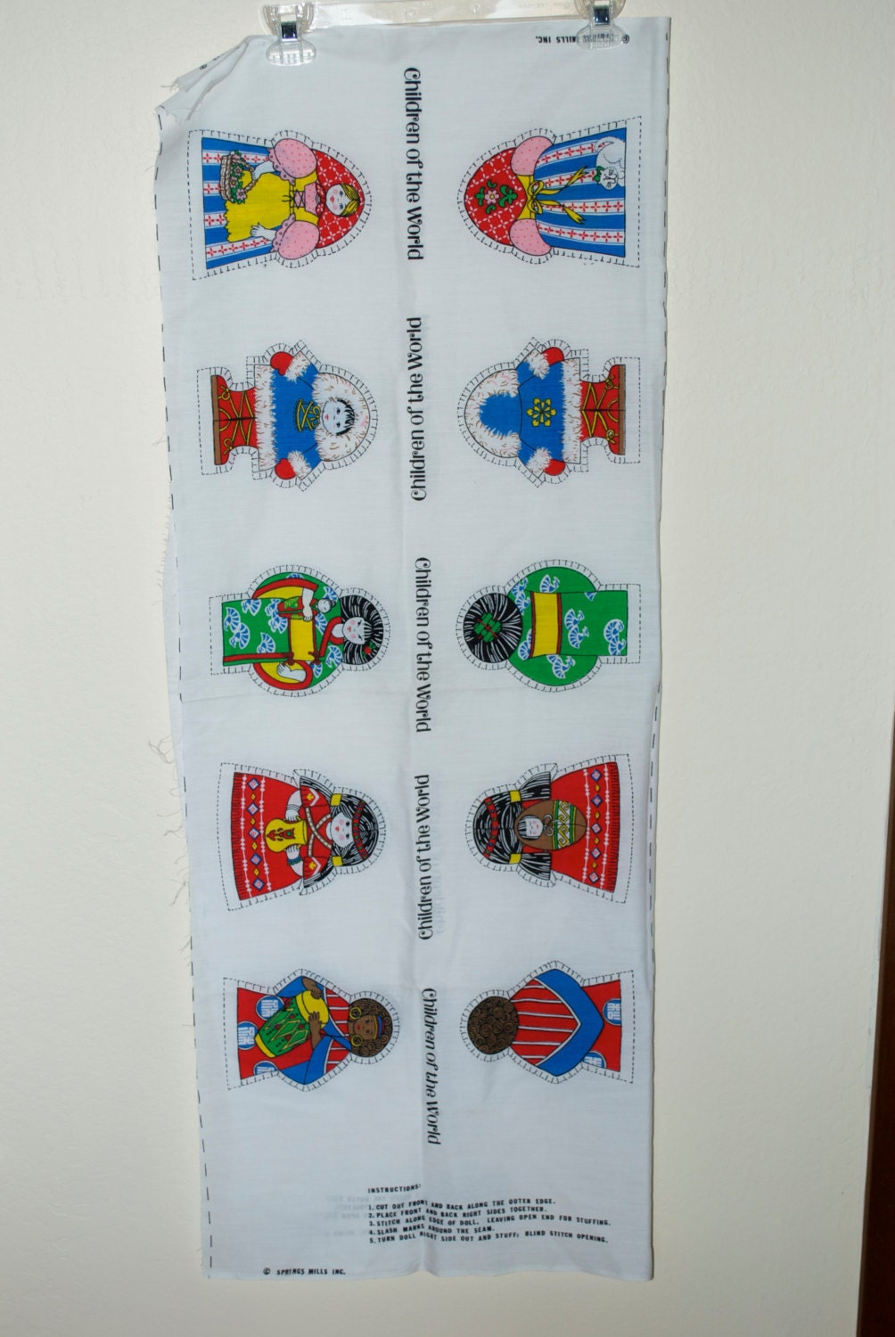 Children dolls of the world fabric panel craft lot set of 5 for Children of the world fabric