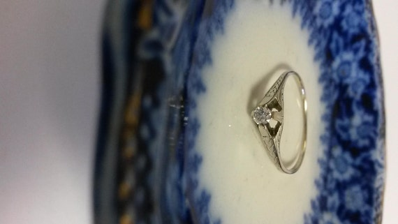 Estate Antique 20k White Gold 10ct Diamond Ring by ThomasBrothers