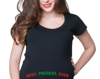Best Christmas Gift Maternity T Shirt Christmas Pregnancy Shirt Maternity Tees Xmas Shirt For Pregnant Woman