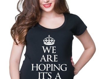 We Are Hoping It's A T RexT-Shirt Gift For Pregnant Woman T-Shirt Funny Maternity Top Pregnancy Top
