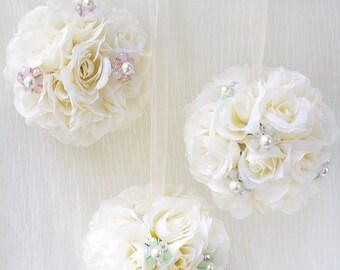 Flower Girl, Pomander Flower Ball, Flower Ball, Kissing Balls, Wedding flower balls, Wedding Decorations, Silk Flower, BQ46